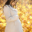 Happy pregnant woman in the autumn park — Stok fotoğraf