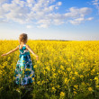 Girl in rape field — Stock Photo