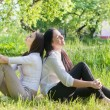 Two girls sitting down on green grass - Stock Photo