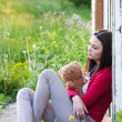 Teenage girls with toy outdoor — Stockfoto
