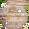 Spring flowers on wooden background — Stock Photo #11163092