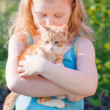 Little girl with cat outdoor — Stock Photo #11165127