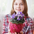 Girl with violet indoor - Stock Photo