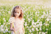 Little girl with dandelion — Stock Photo
