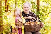 Elderly men and little girl in forest — Stock Photo