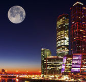 "Business centre ""Moscow-City"", night landscape — ストック写真"