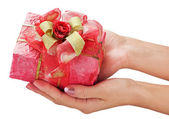 Give holiday gift — Stock Photo