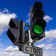 Green color on the traffic light — Stock Photo