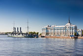 "Russian memorial cruiser ""Aurora"", built 1902, St.Petersburg, Ru — ストック写真"