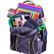 Backpack with school supplies — Stok fotoğraf