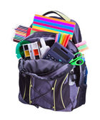 Backpack with school supplies — Stockfoto