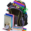 Backpack for school stationery learning - Stock Photo