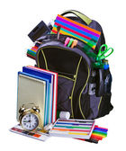Backpack for school stationery learning — Stock Photo