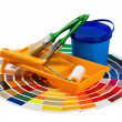 Plastic can with paint, roller, brushes and bright palette of co — Stock Photo