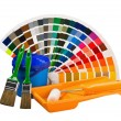 Cans of paint, paint brushes, rollers color palette — Stock Photo