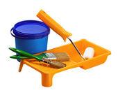 Plastik boya, rulo, fırça ile izole olabilir — Stok fotoğraf