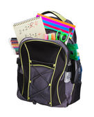 Schoolbag with supplies — Stok fotoğraf