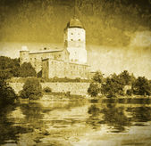 Medieval Swedish castle in Vyborg. Imitation of old postcards — Stock Photo
