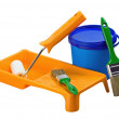 Plastic cans of paint and painting tools — Stock Photo #11876973