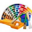 Stock Photo: Plastic cwith paint, roller, brushes isolated on white