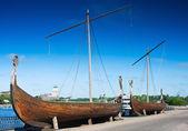 Drakkar on the waterfront in Vyborg — Stock Photo