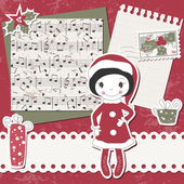 Vector Christmas and New Year scrapbook card — Vettoriale Stock