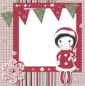 Christmas and New Year scrapbook card — Stock vektor
