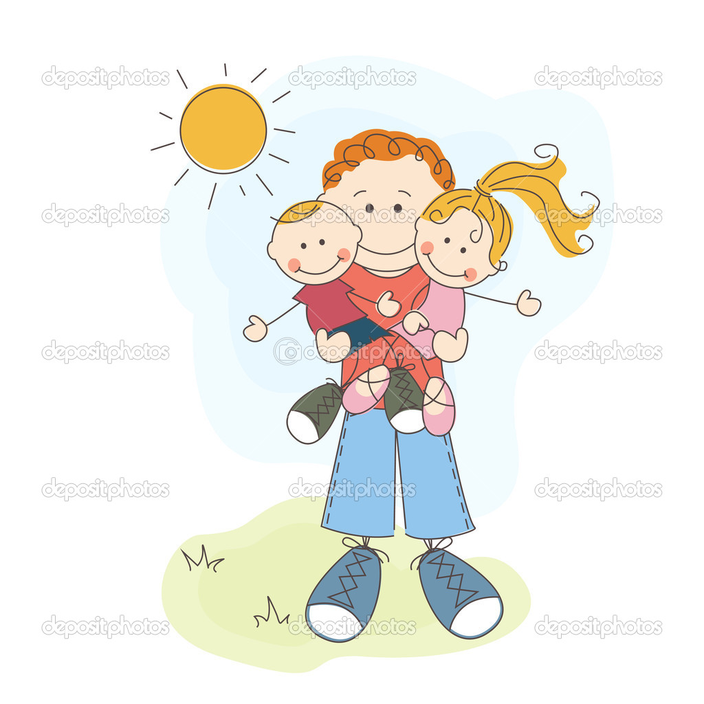 Happy Father's Day, dad, son and daughter — Stock Vector #10942506