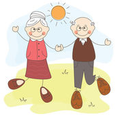 Happy cute grandparents together — Stock Vector