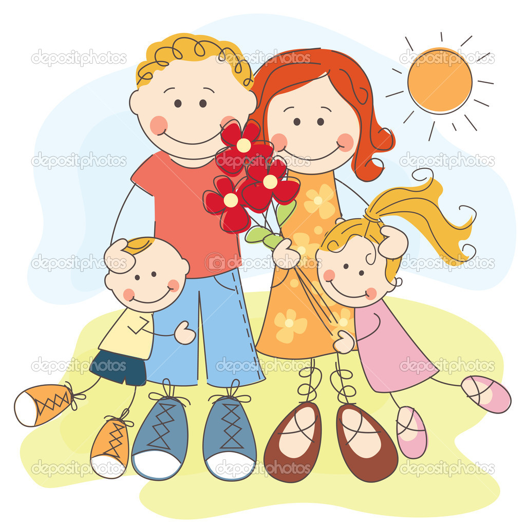 Happy family — Stock Vector © sivanova #10997078