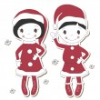 Christmas  girl and boy — Stock Vector