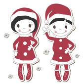 Christmas girl and boy — Stock Vector