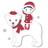 Christmas white bear and boy — Stock Vector
