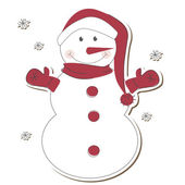 Christmas snowman isolated on white background. — Vector de stock