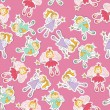 Seamless pattern with fairy - Stok Vektör