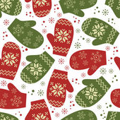 Christmas seamless pattern with winter mittens — Stock Vector
