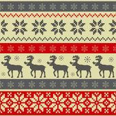 Folk style Christmas seamless pattern — Stock Vector