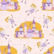 Seamless pattern with princess castle and fairy — Stock Vector