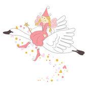 маленькая фея летит на лебедя — Cтоковый вектор