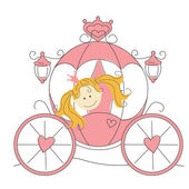 Cute little princess in the carriage — Stockvector