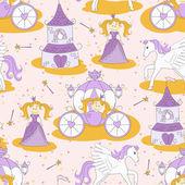 Princess seamless pattern — Stock Vector
