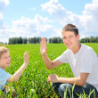 Stock Photo: Brothers in the field