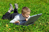 Kid with notebook — Stock Photo