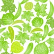 Seamless pattern with different green leaves on white background - Imagens vectoriais em stock