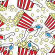 Stock Vector: Vector seamless pattern with cinemsymbols. Popcorn and 3d glasses