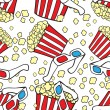 Vector seamless pattern with cinemsymbols. Popcorn and 3d glasses — Stockvektor #10884647