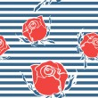 Seamless abstract pattern with roses on marine strips - Stok Vektör
