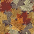 Seamless pattern with lace maple leaves - Stok Vektör