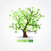 Abstract tree with green fresh leaves — Stock Vector