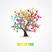 Abstract tree with fresh leaves — Wektor stockowy